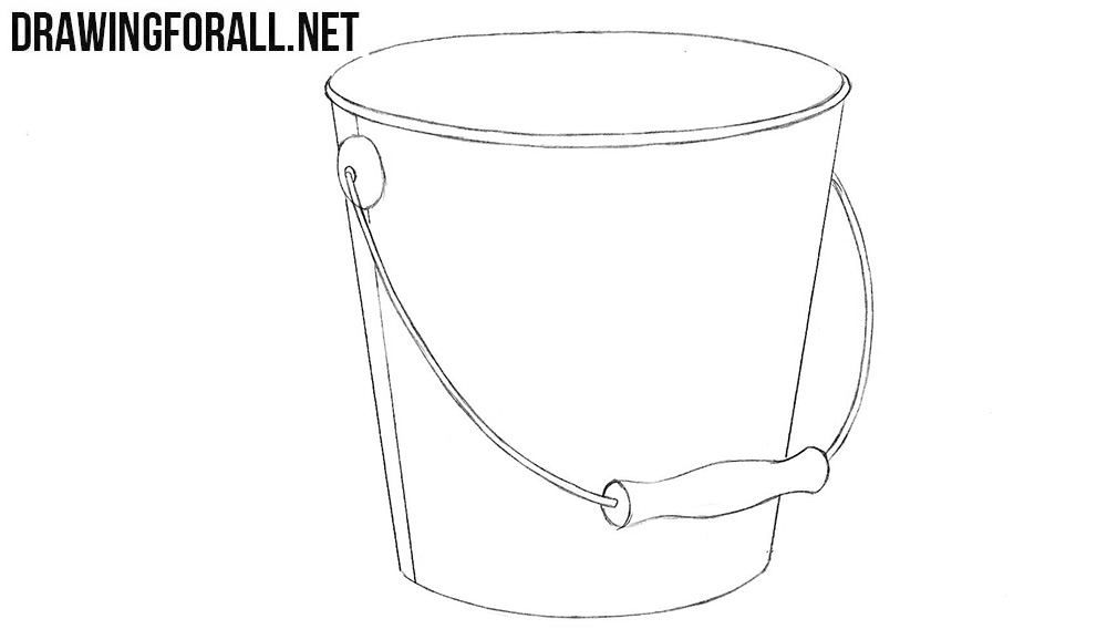 How to draw a bucket step by step