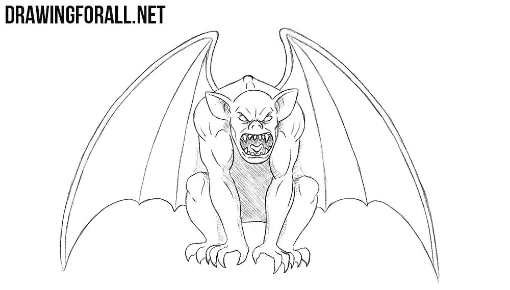 how to draw a gargoyle