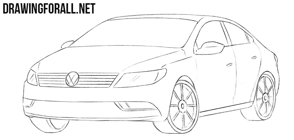Volkswagen Passat CC drawing tutorial