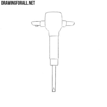 How to Draw a Jackhammer Step by Step