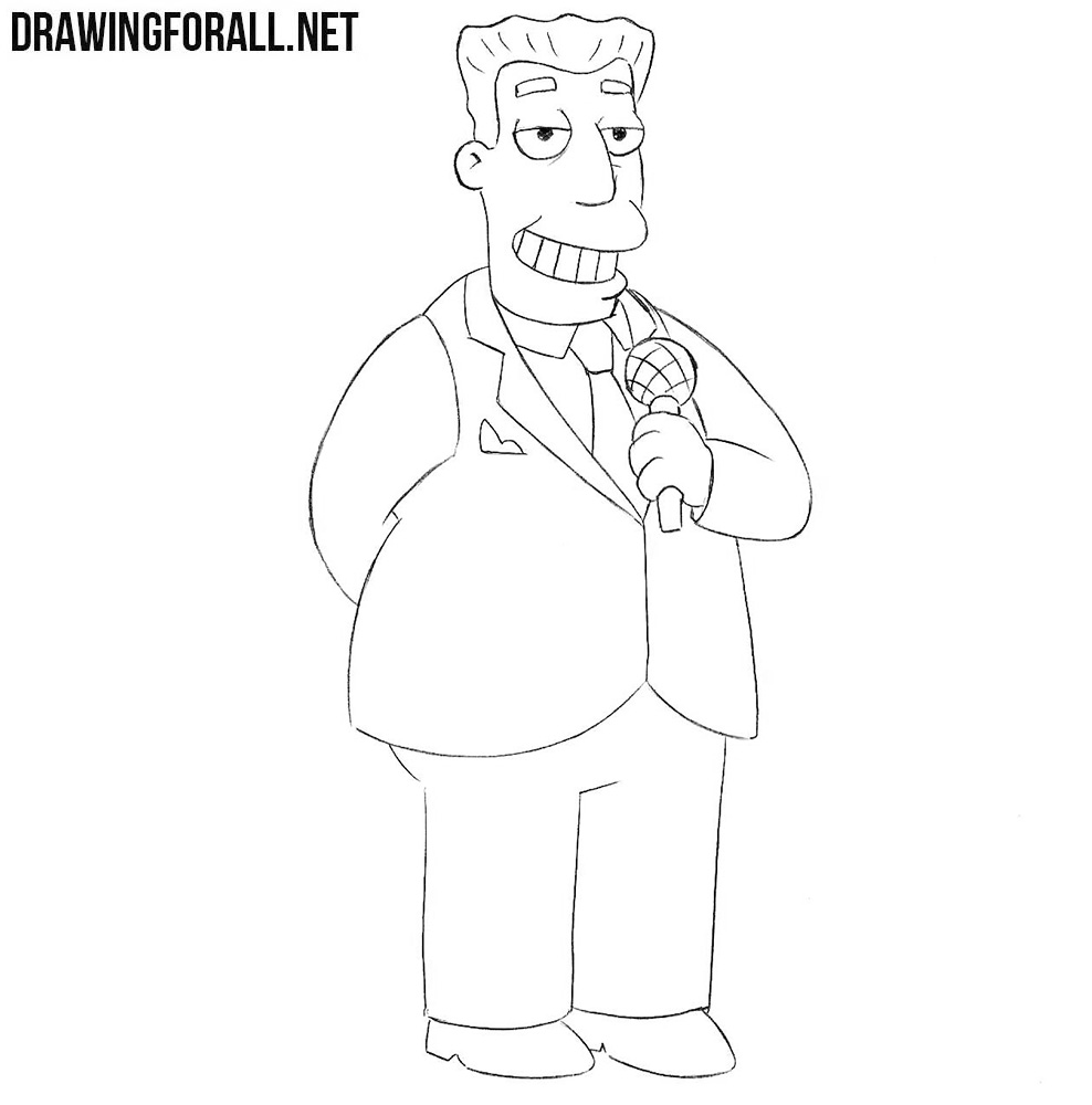 How to draw Kent Brockman from the Simpsons