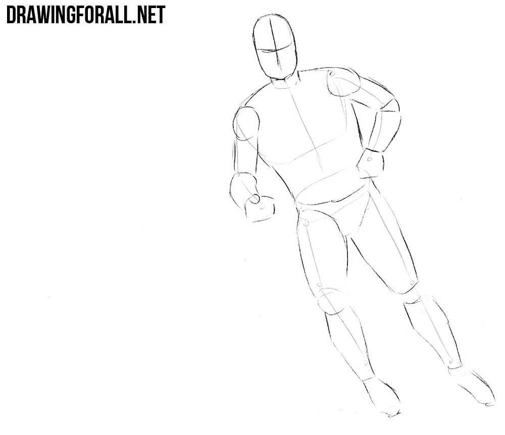 How to sketch a hockey player step by step