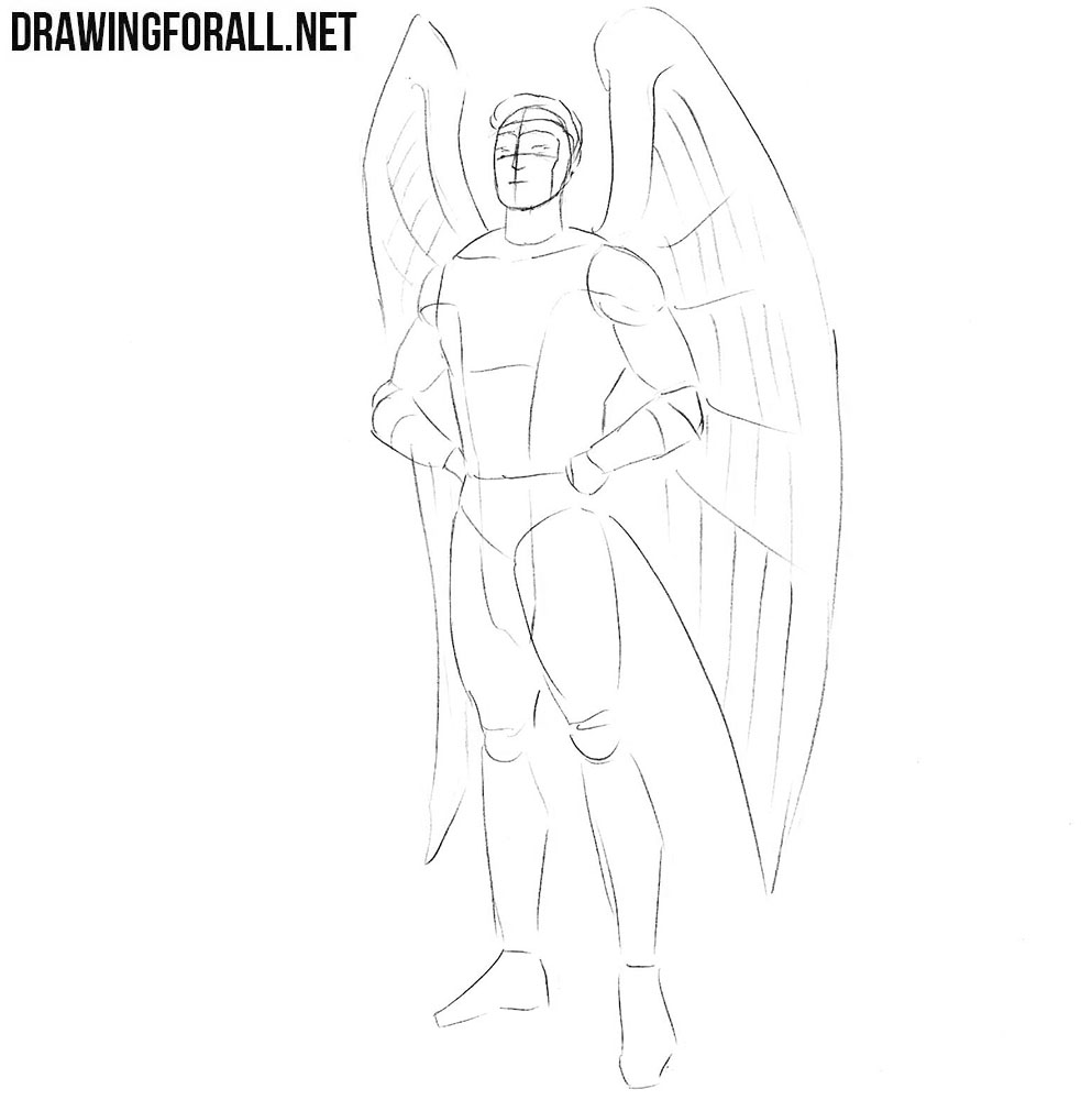 How to draw Angel Marvel step by step