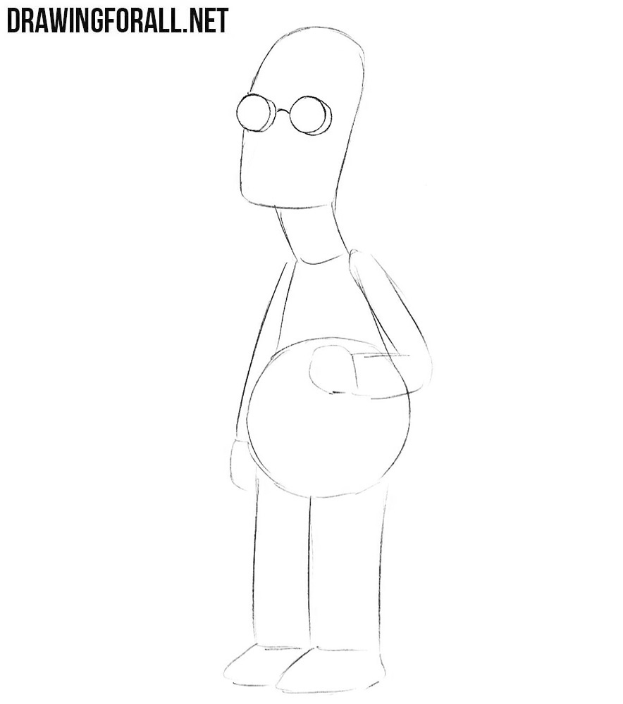 How to draw Professor Frink easy