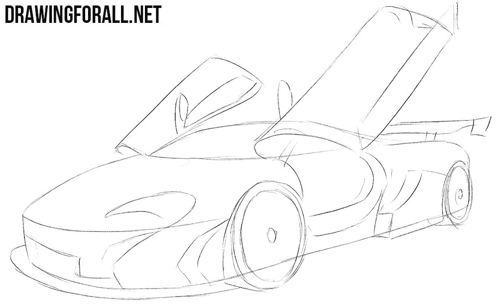 How to draw a McLaren p1 gtr super car