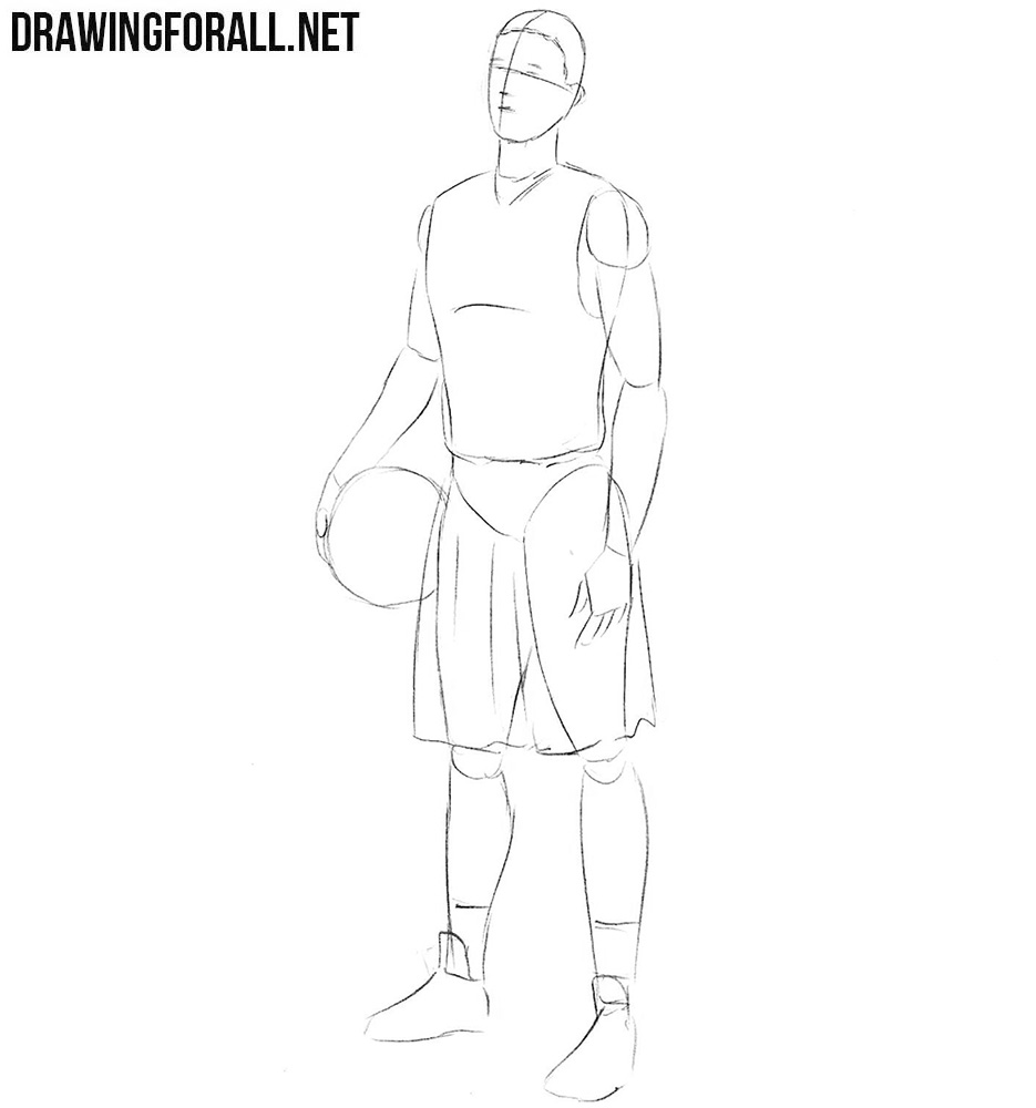 How to draw a basketball player step by step