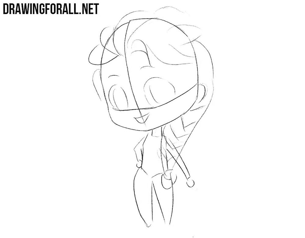 How to sketch Chibi Elsa step by step