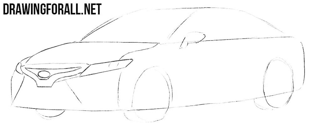 How to sketch a Toyota step by step