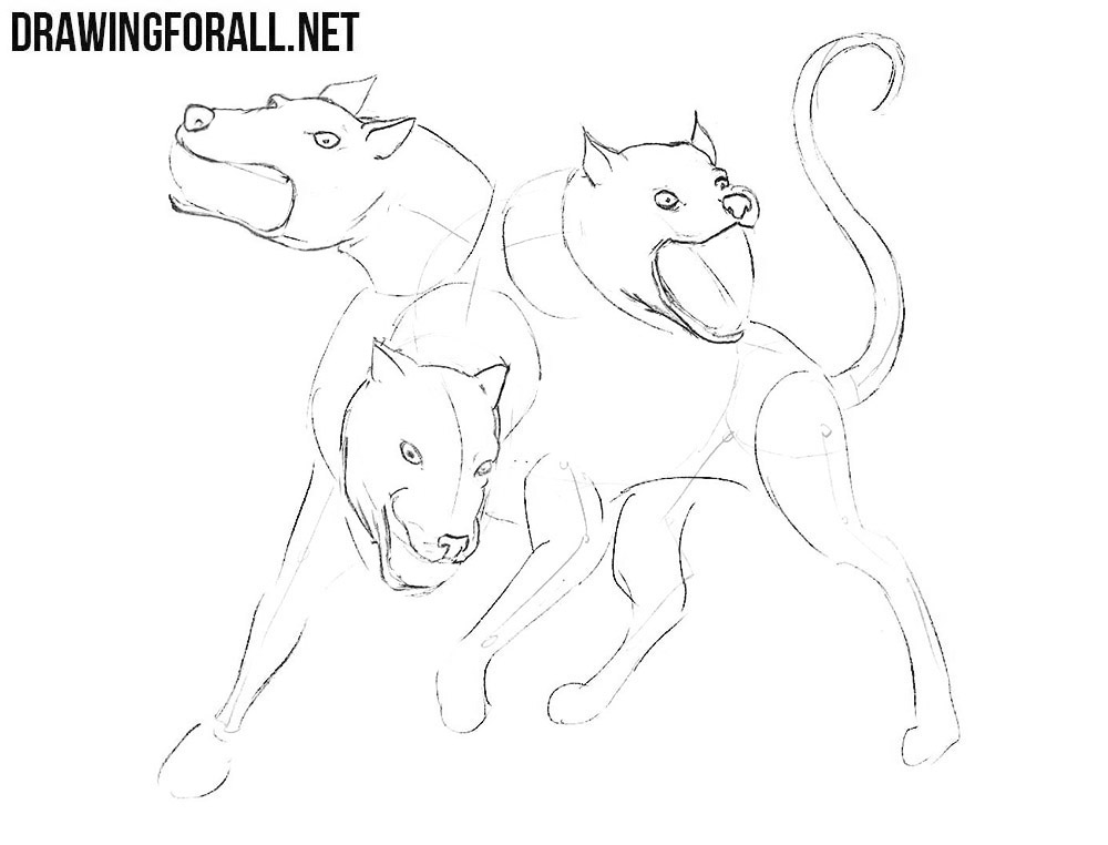 Learn how to draw Cerberus step by step