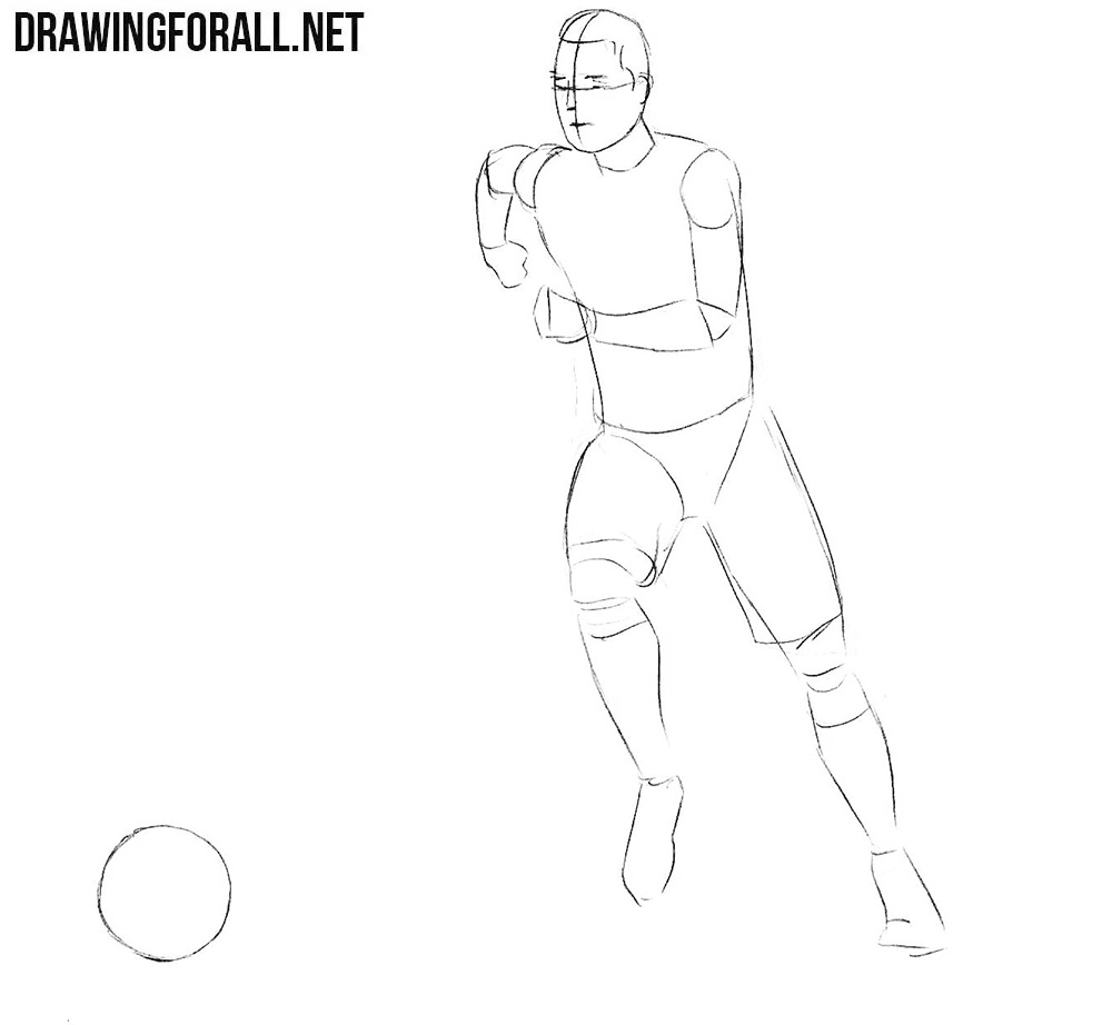 Learn how to draw a football player step by tep