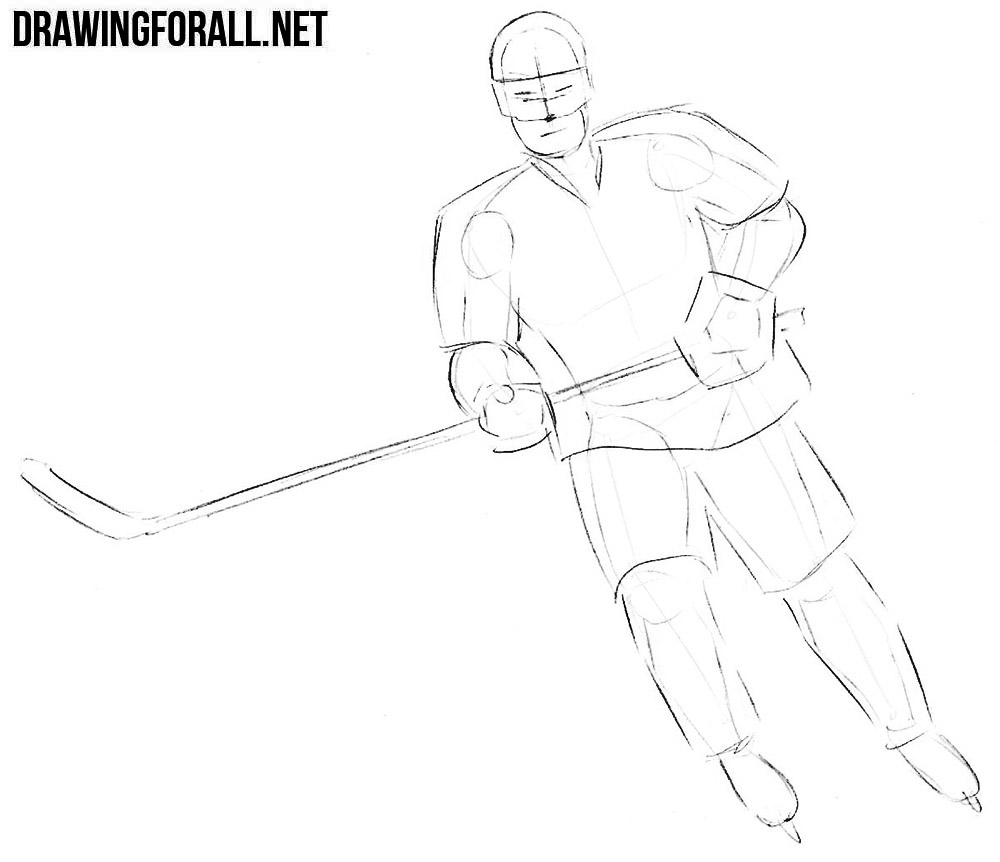 Learn how to draw a hockey player