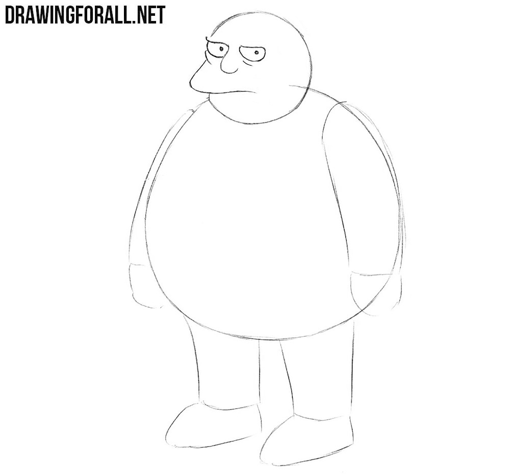 How to draw Comic Book Guy step by step