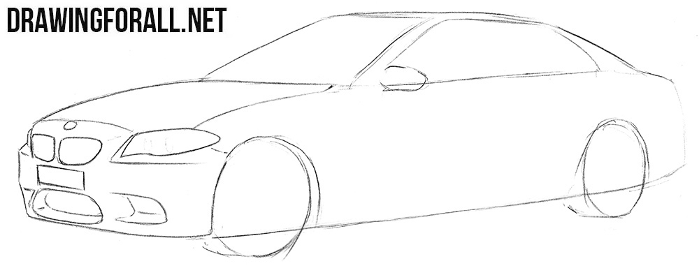 How to draw a BMW M5 step by step
