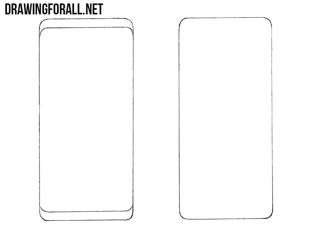 How to draw a Samsung Smartphone step by step