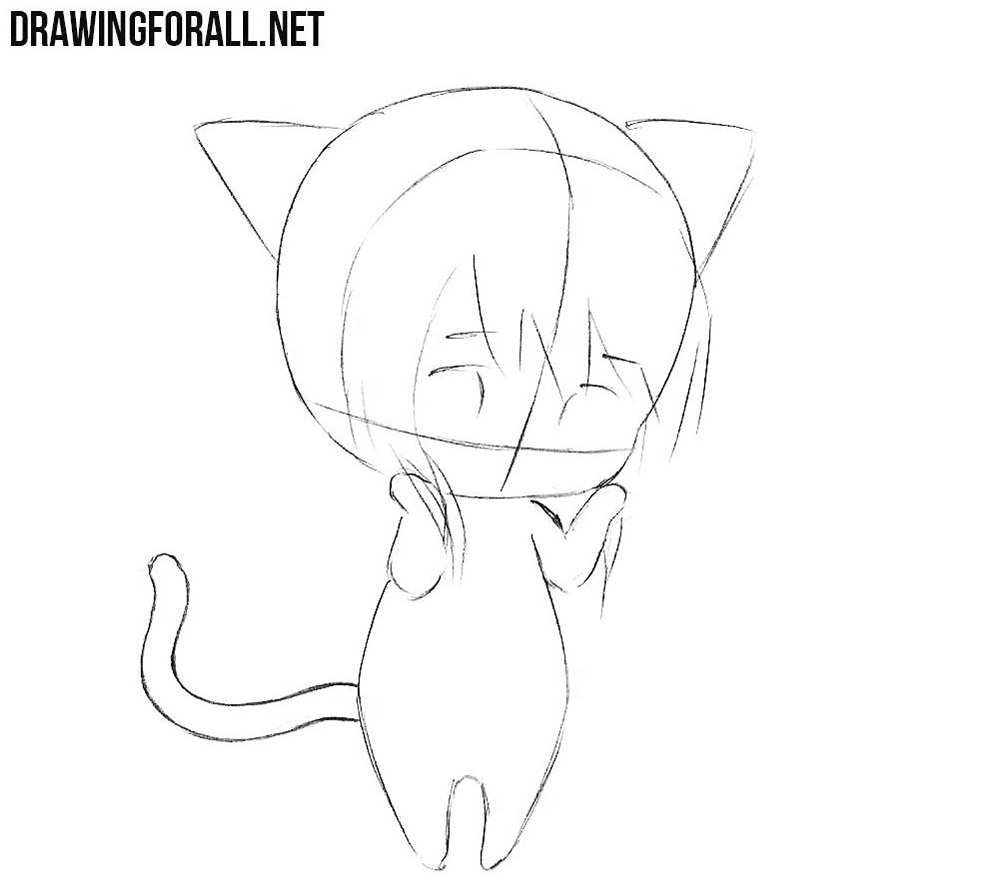 How to draw a chibi catgirl easy