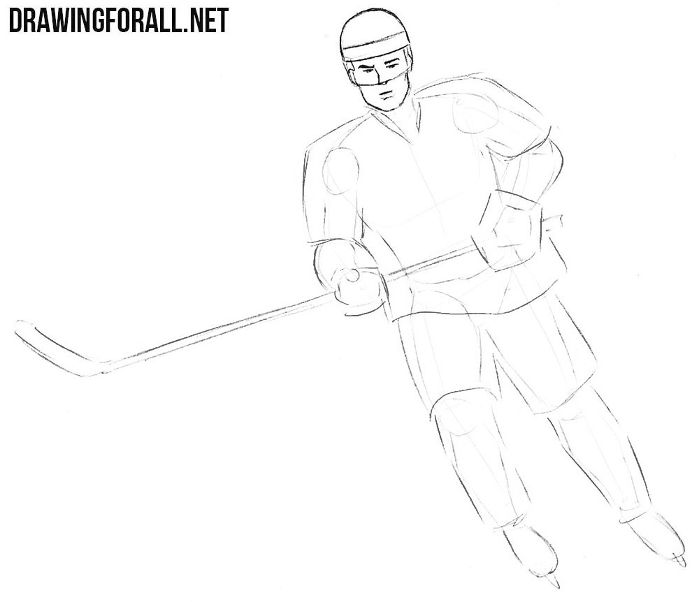 How to draw a realistic hockey player