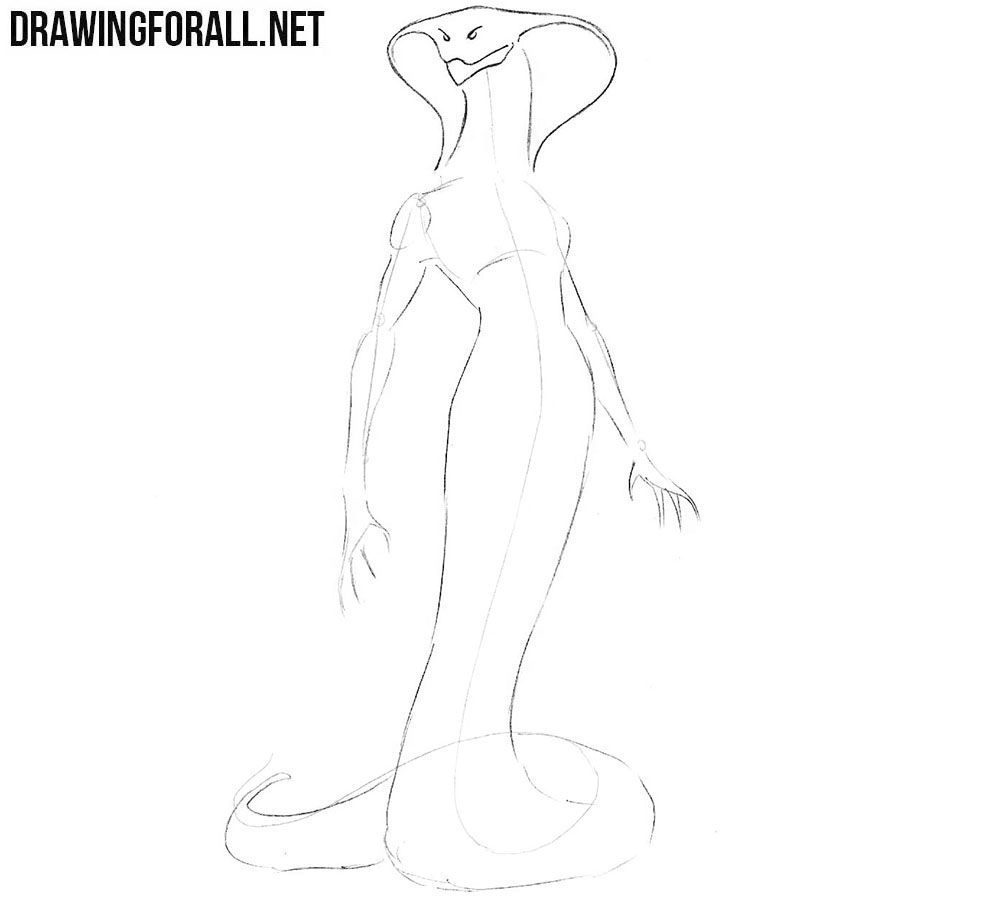 How to draw a snake girl step by step
