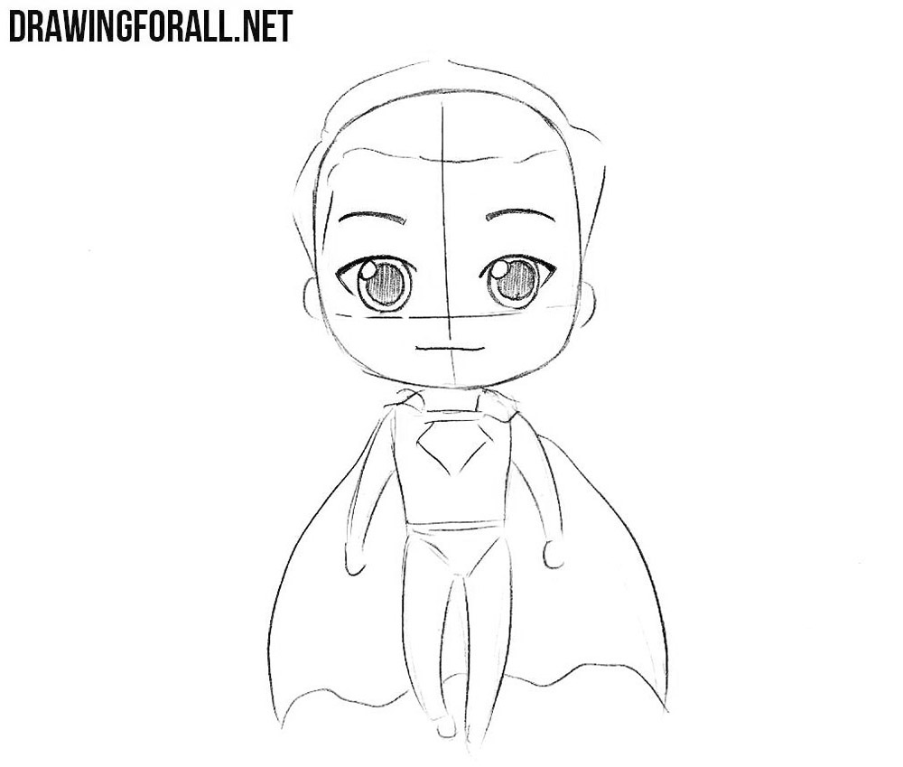 How to draw chibi Superman step by step
