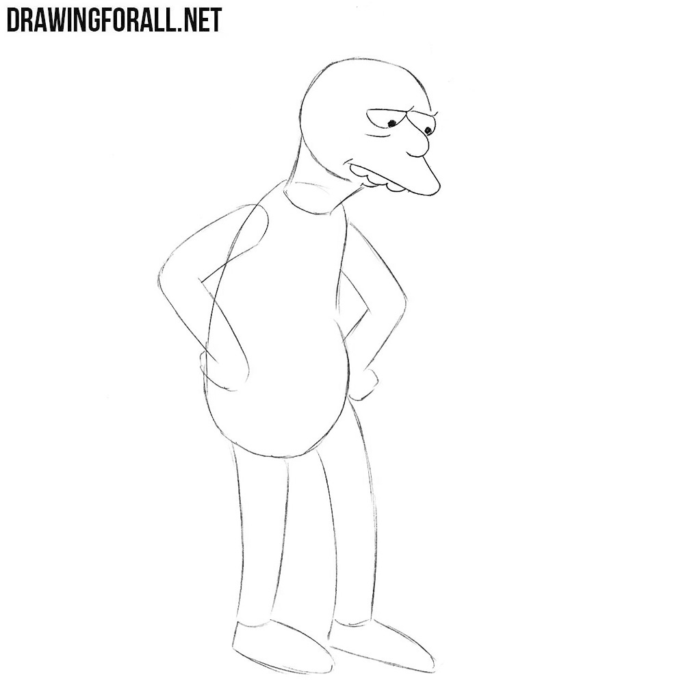 How to draw the bus driver from the simpsons