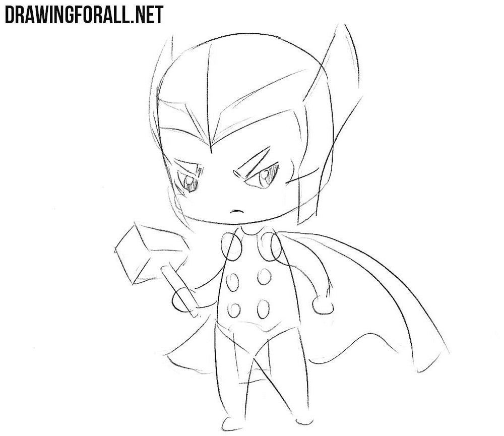 How to sketch chibi Thor step by step