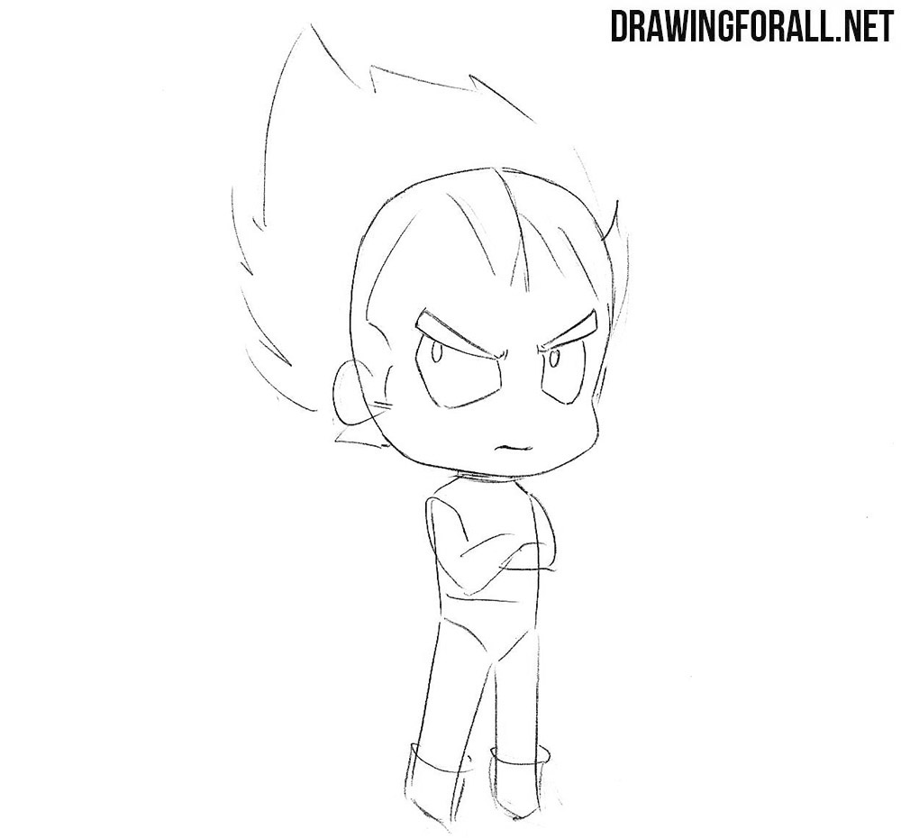 How to sketch chibi Vegeta step by step