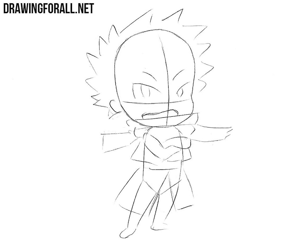 Learn how to draw chibi Natsu step by step