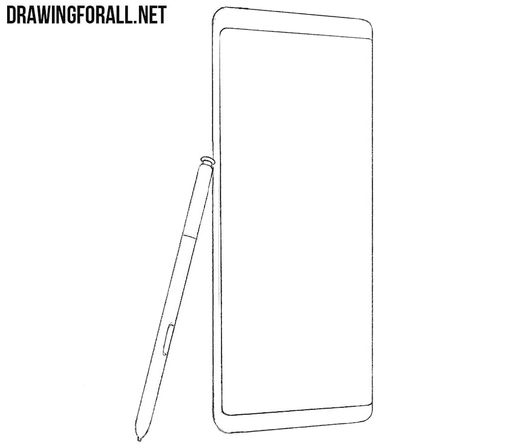 how to draw a Samsung galaxy note8 step by step