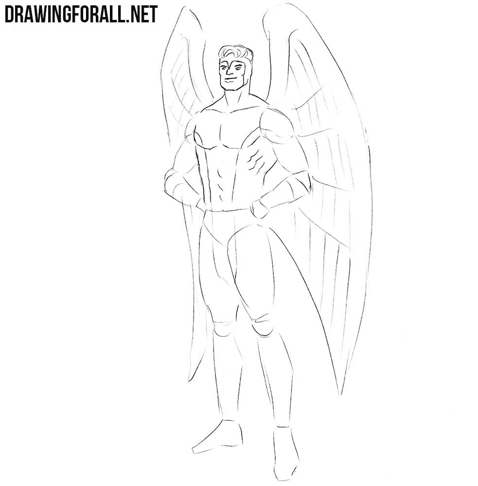 How to draw Angel from X-Men