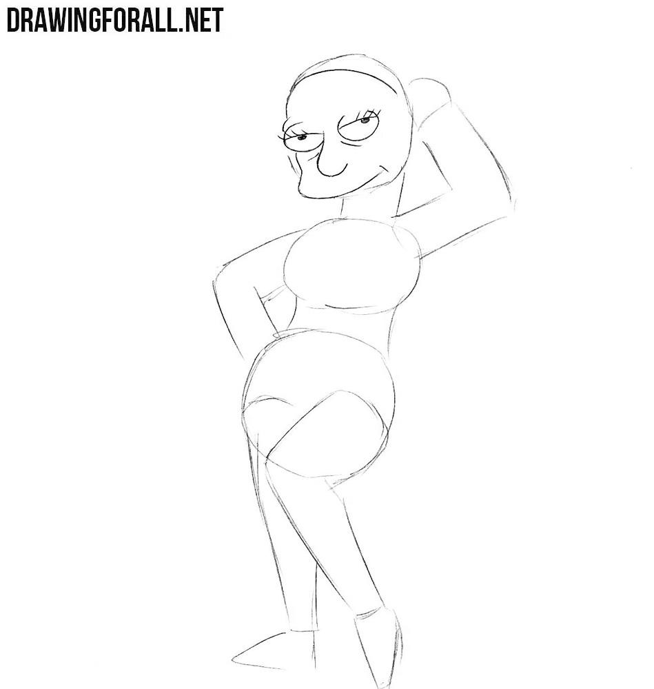 How to draw Edna Krabappel easy
