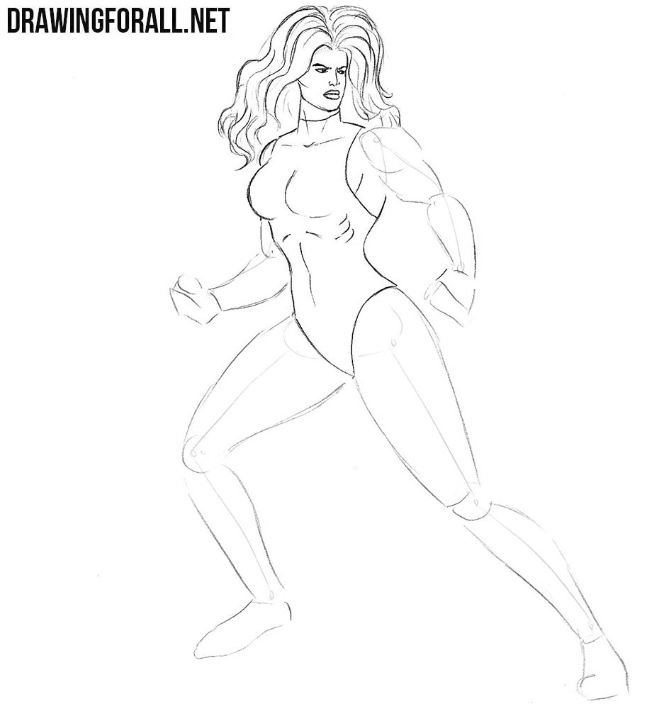 How to draw She-Hulk from marvel comics