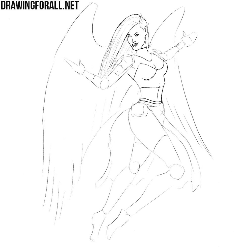 How to draw a girl with wings