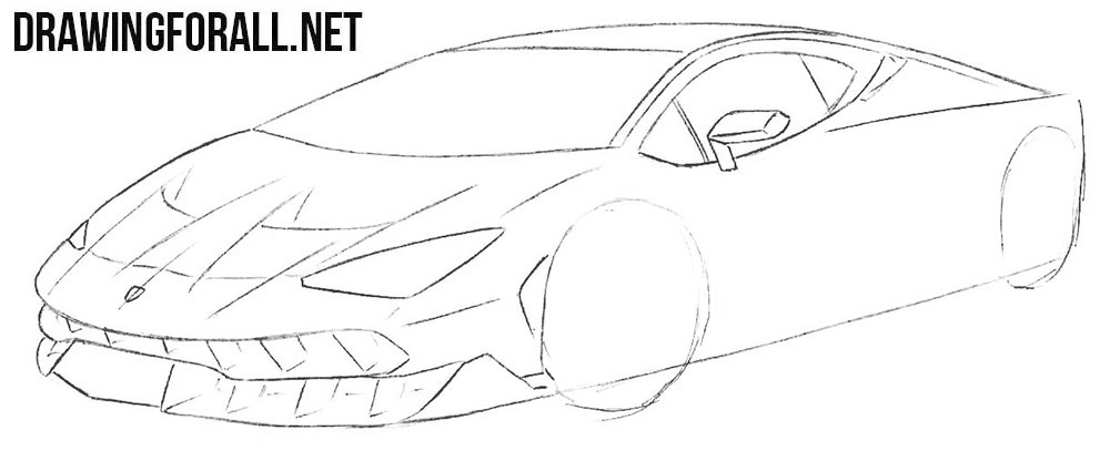How to draw a lamborghini race car step by step