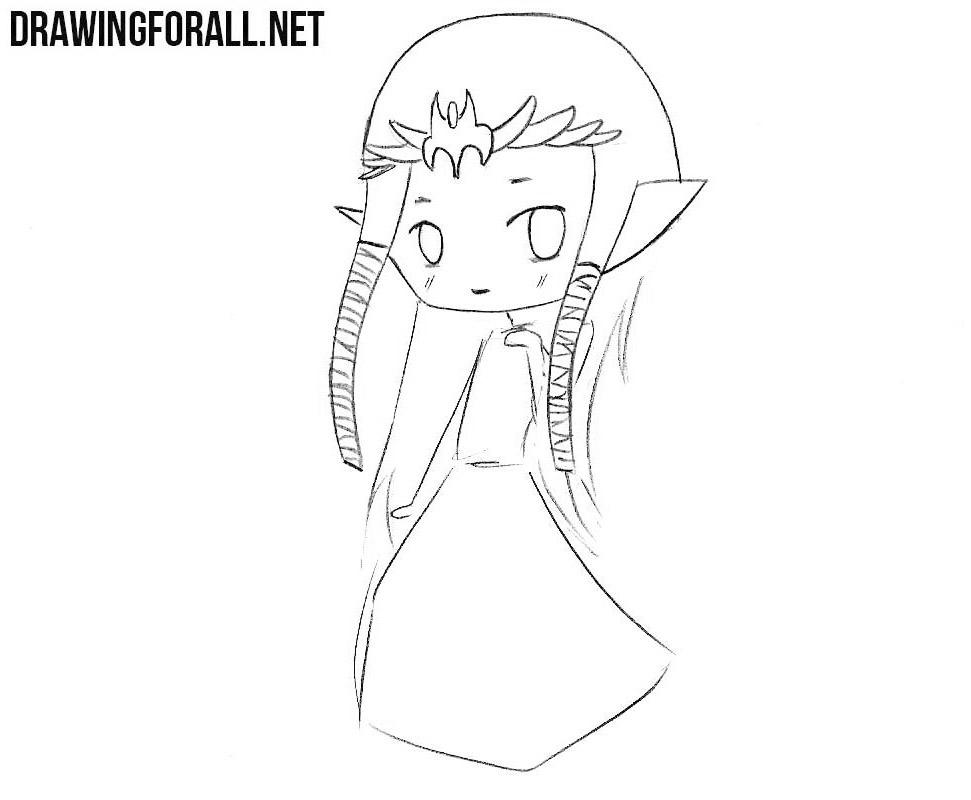 How to draw chibi game princess