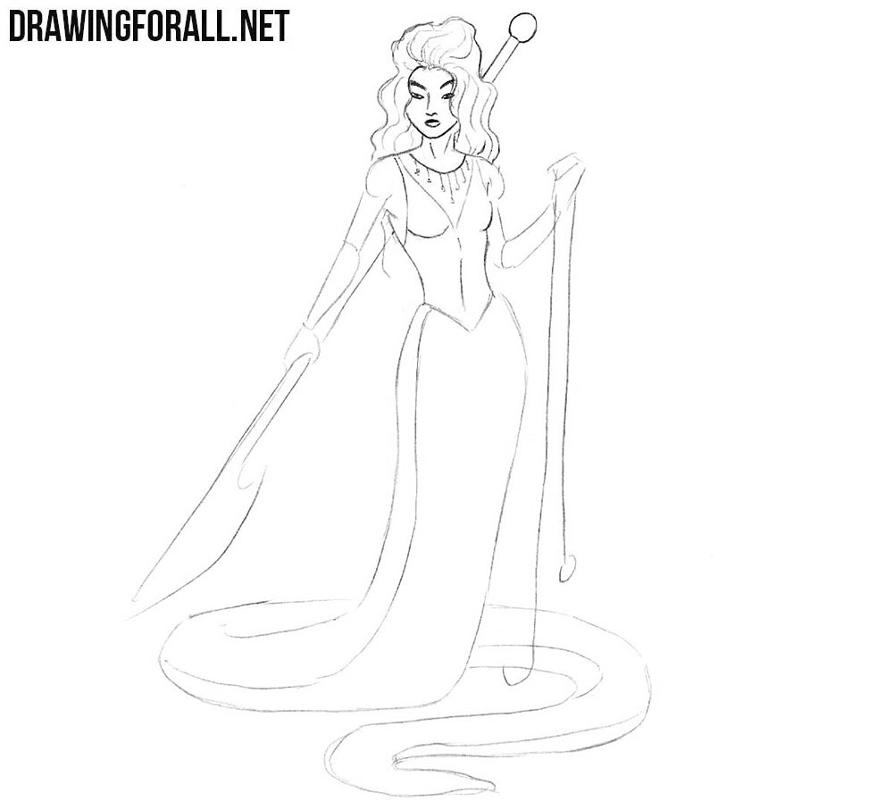 How to draw snake woman
