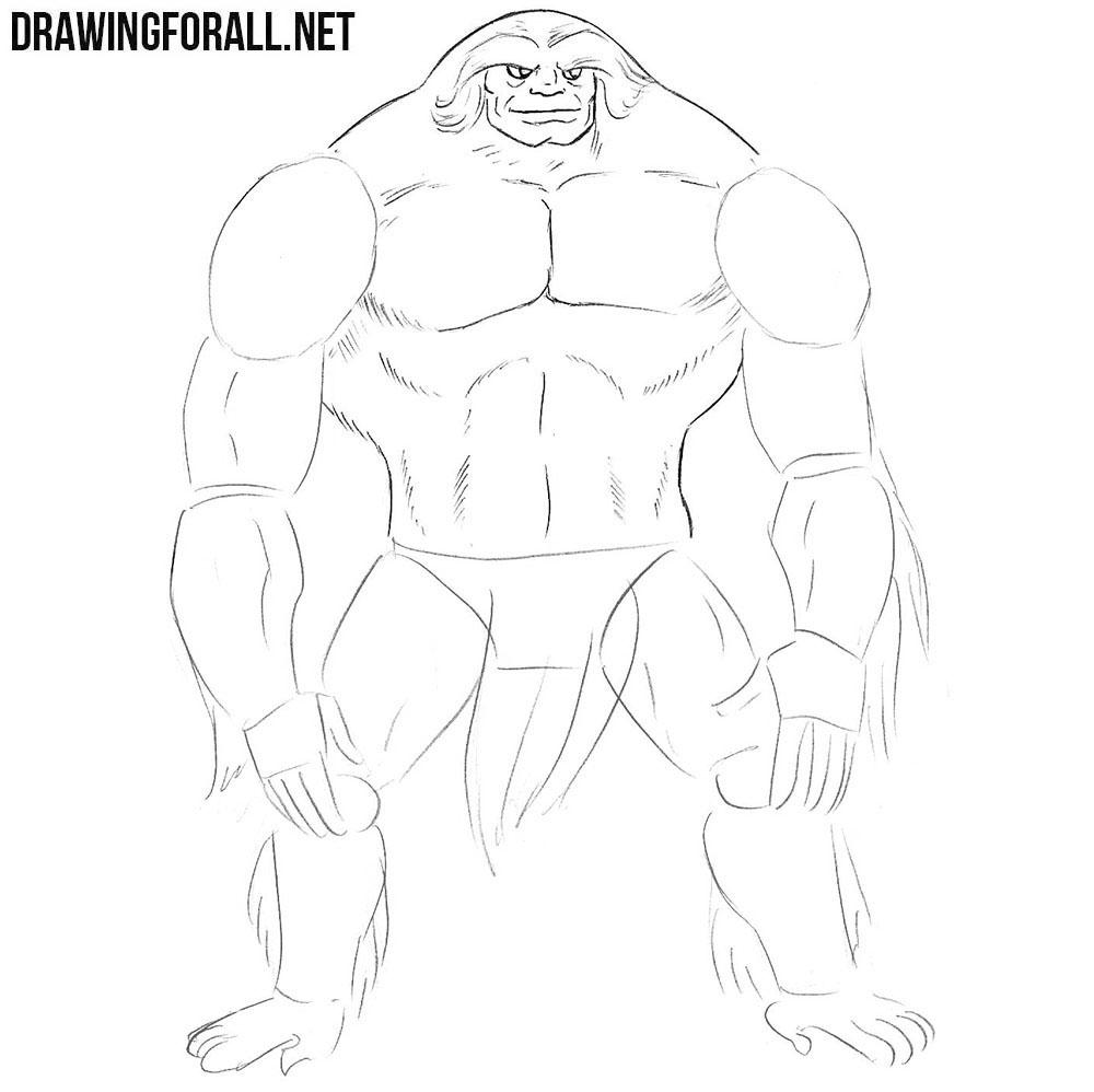 Learn how to draw Sasquatch step by step