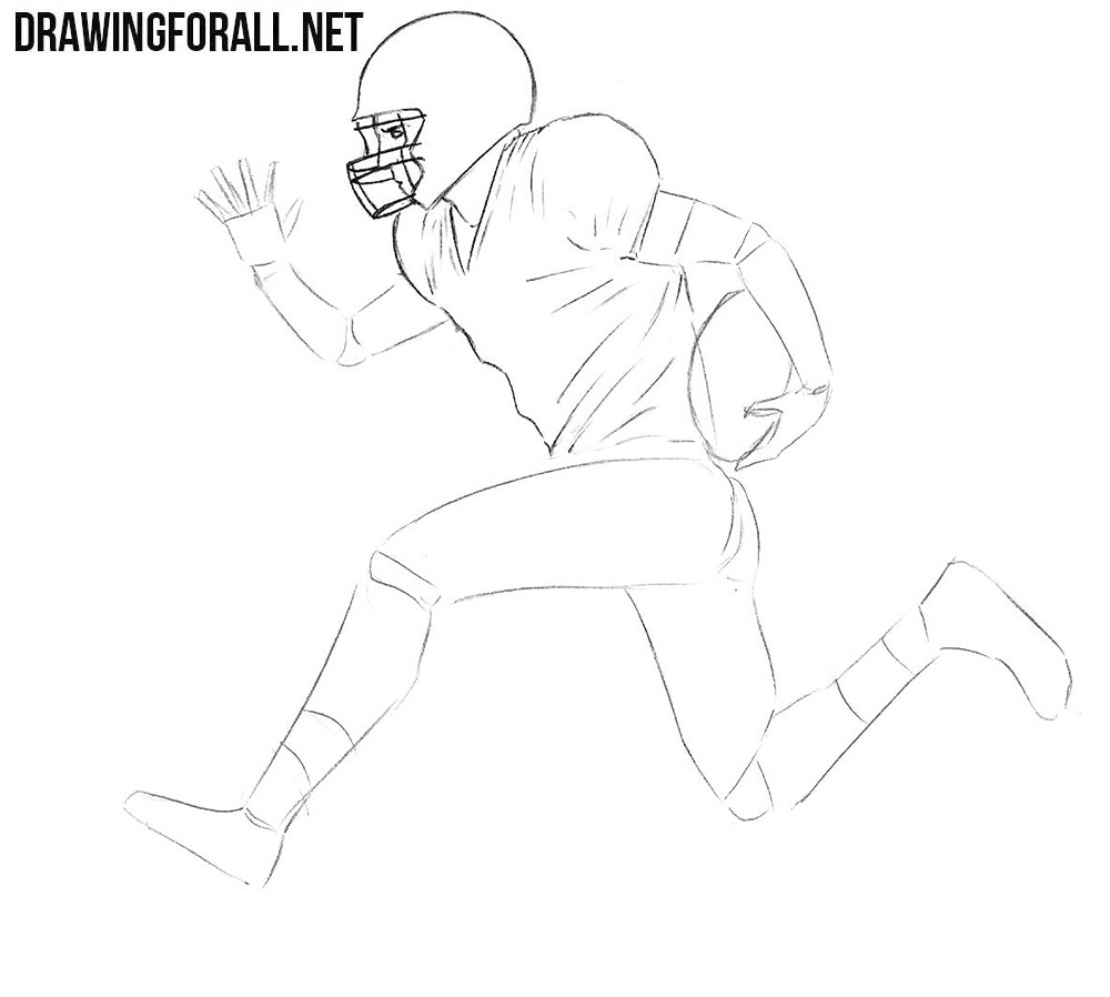 american football player sketching