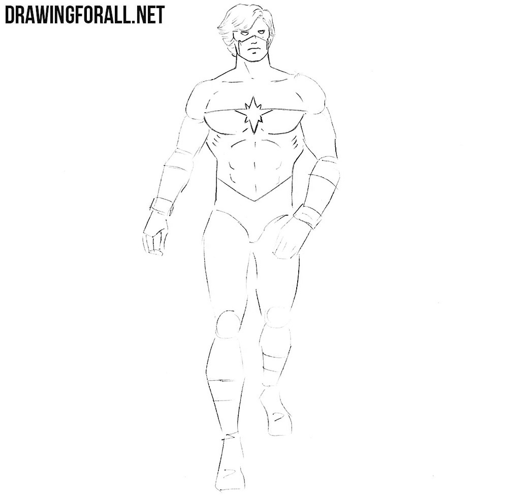 how to sketch mar vell step by step