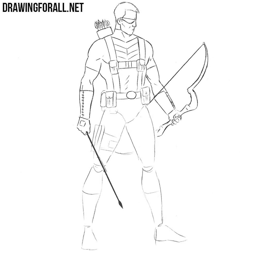 How to draw Hawkeye step by step