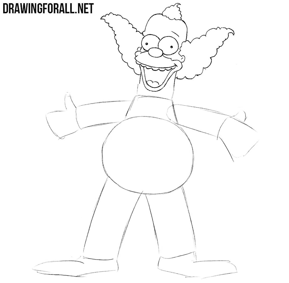 How to draw Krusty the Clown