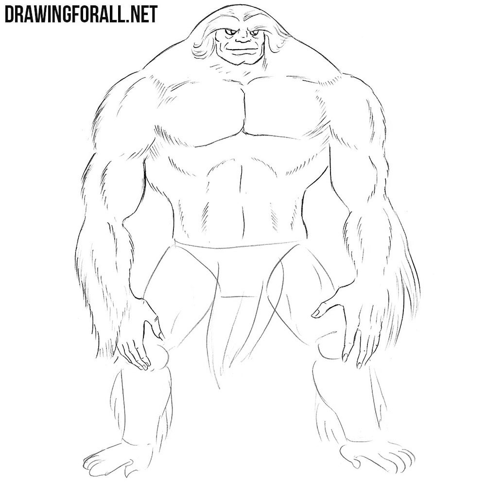 How to draw Sasquatch from Marvel