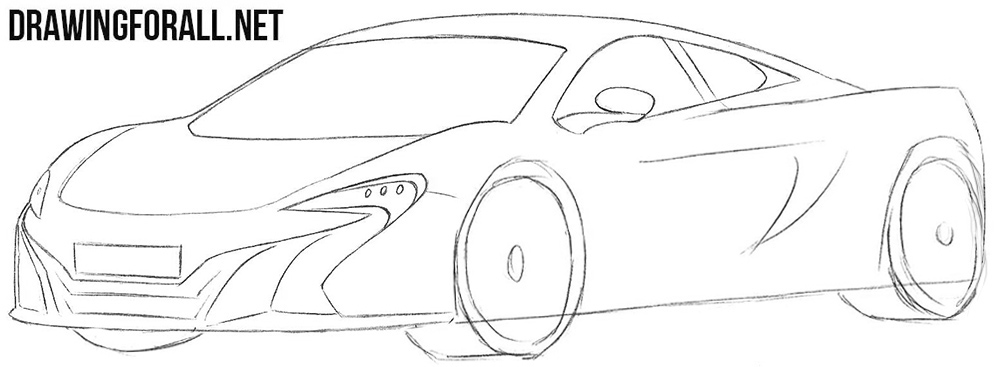 How to draw a Mclaren 650s step by step