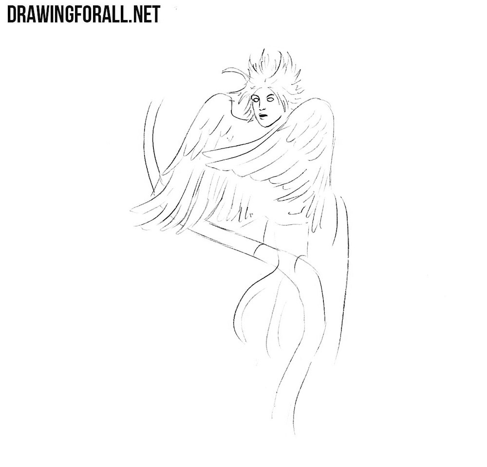 How to draw a human bird