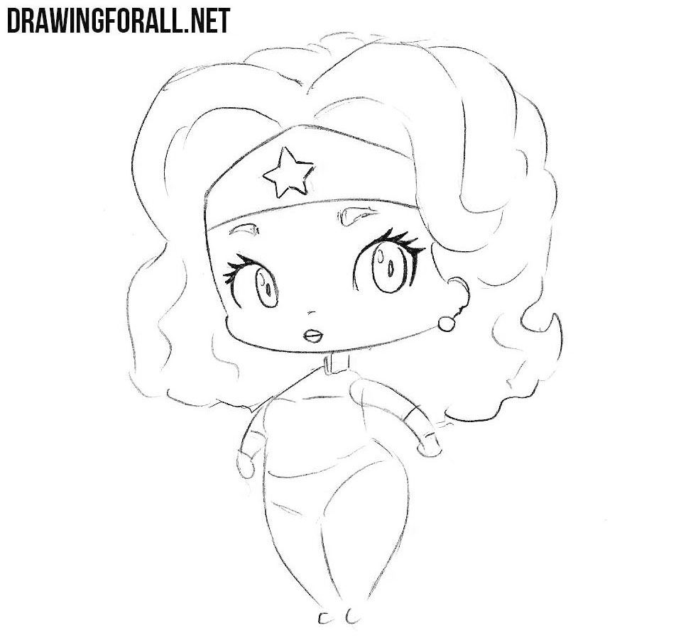 How to draw chibi Wonder Woman step by step