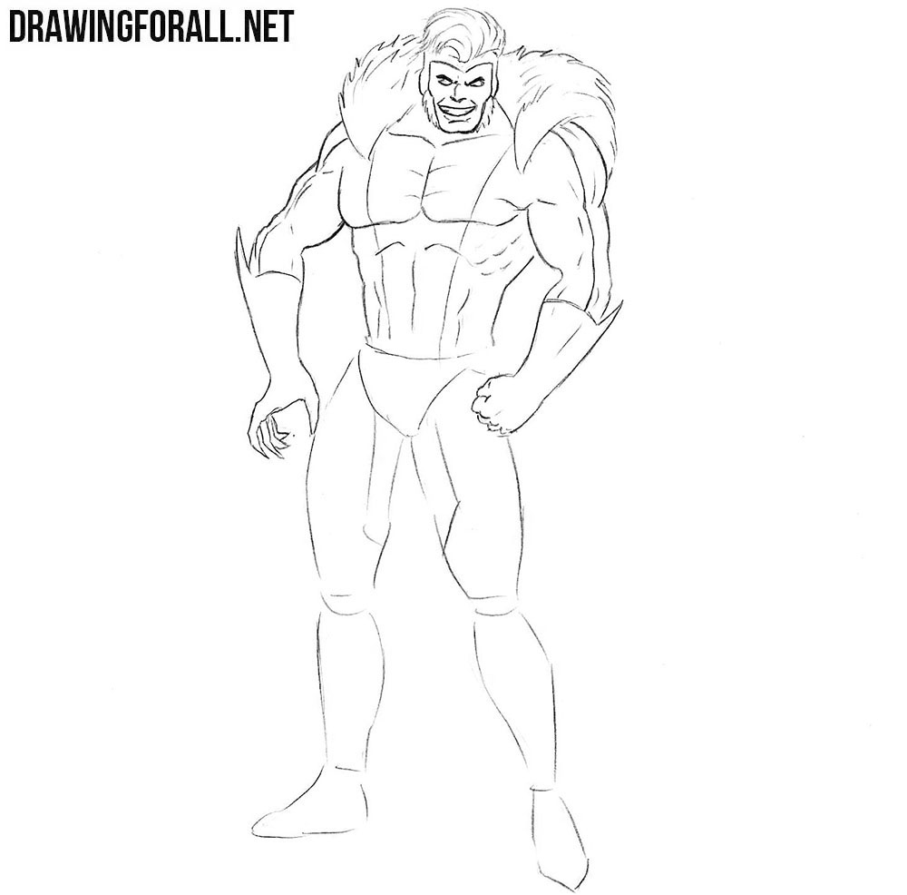 Learn how to draw Sabretooth from comics