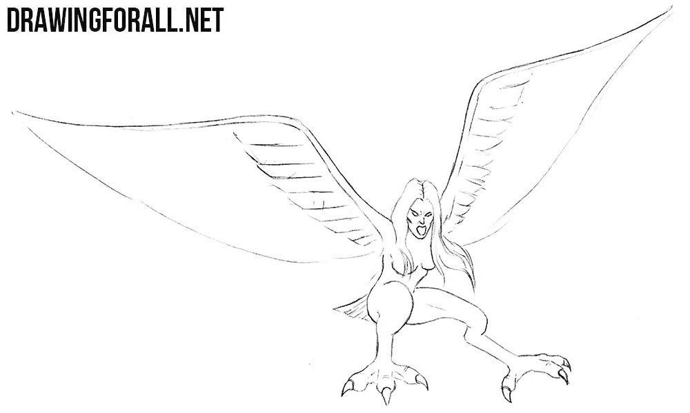 Learn to draw a harpy