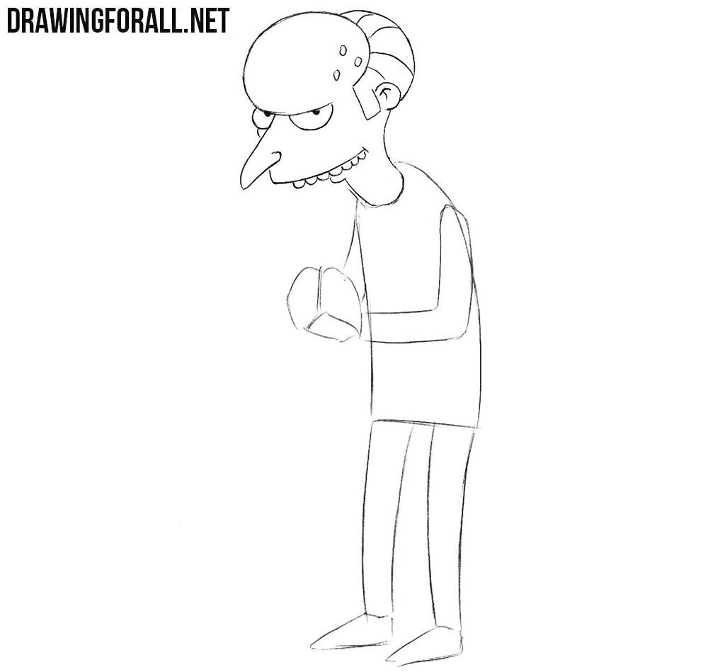 Mr Burns sketching
