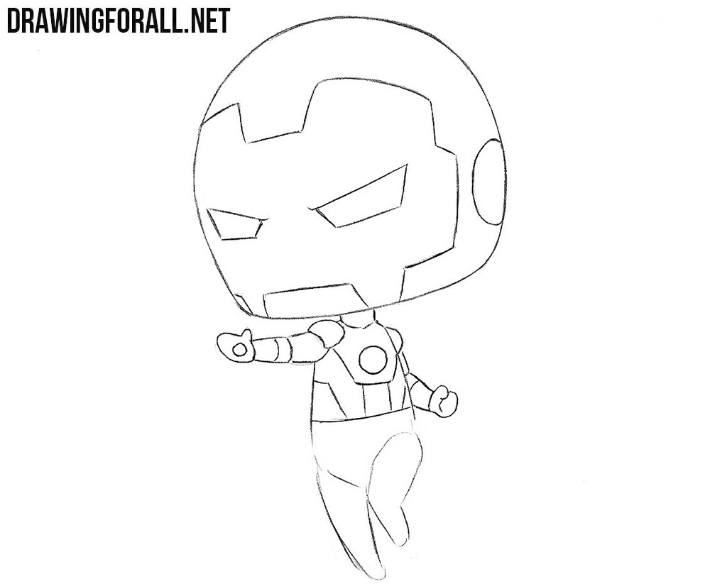 chibi Iron Man drawing tutorial