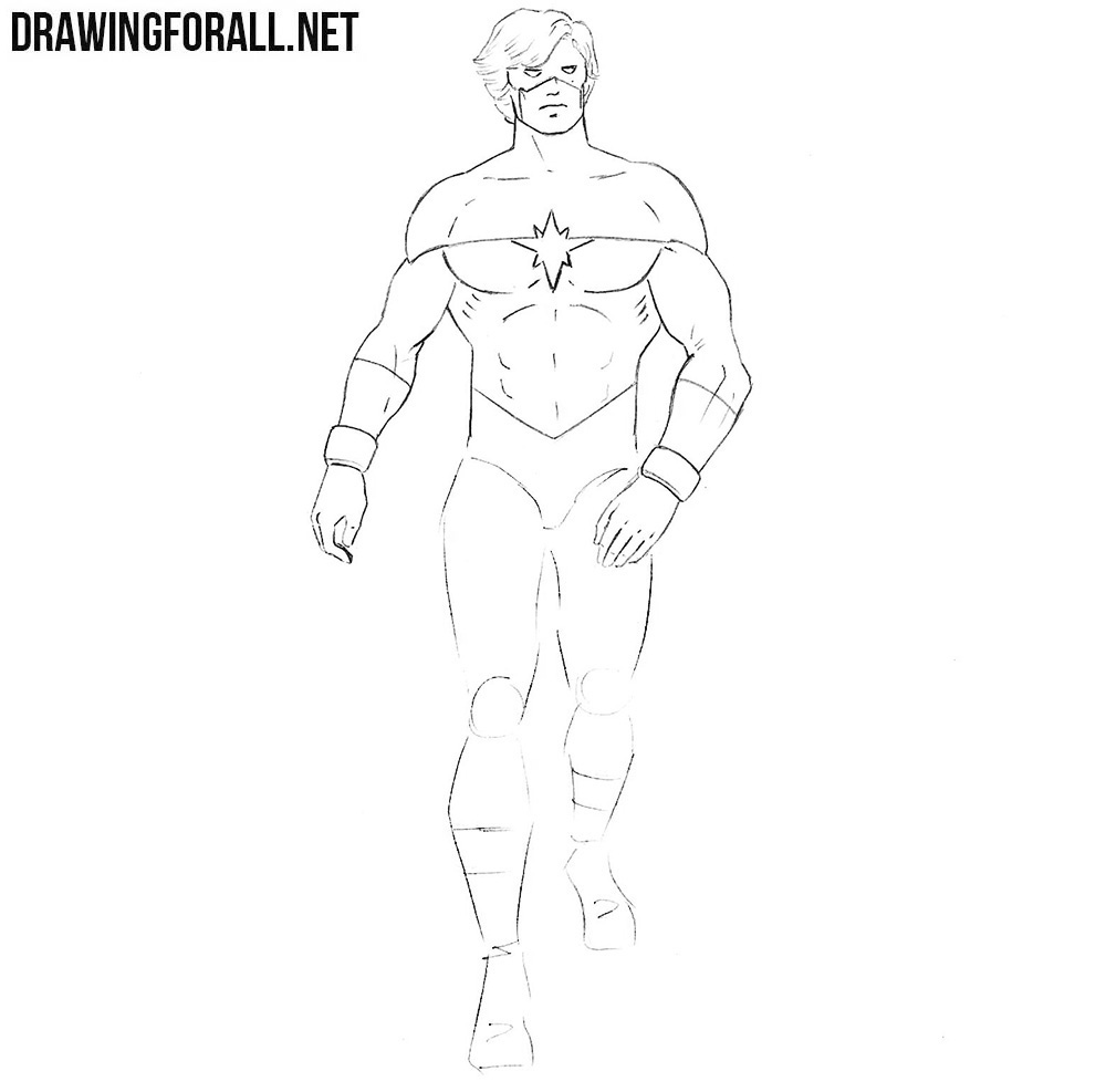 how to draw mar vell step by step