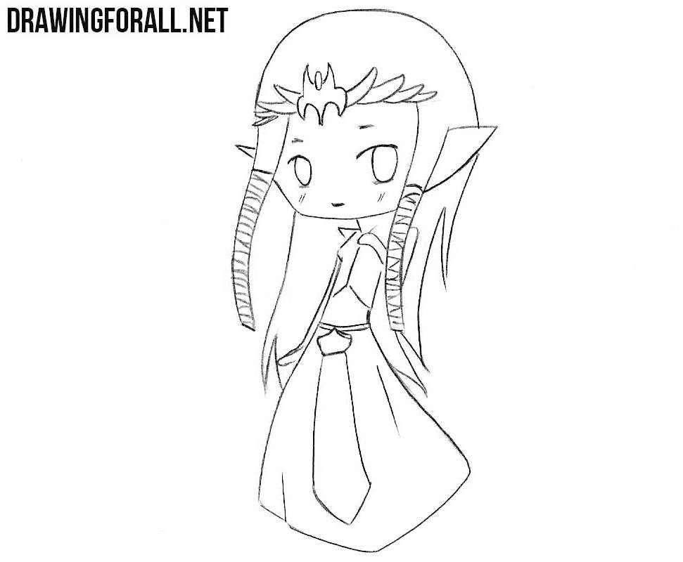 How to draw сhibi Zelda