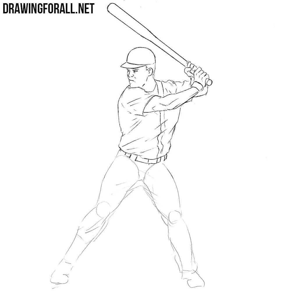 How to draw Baseball Player step by step
